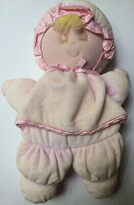 Eden Pink Velour Sleeping Eyes Closed Baby Doll Plush Blonde Stuffed Lovey Toy