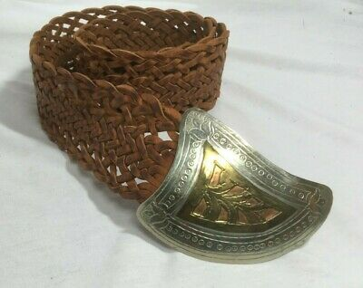 Wide Tan Woven Leather Belt Big Buckle Womens Large Brown Morocco BOHO Hip