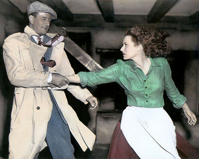 "JOHN WAYNE MAUREEN O'HARA THE QUIET MAN 1952 8x10"" HAND COLOR TINTED PHOTOGRAPH"