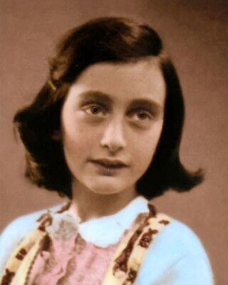 """ANNE FRANK 1930s WWII HOLOCAUST VICTIM 8x10"""" HAND COLOR TINTED PHOTOGRAPH"""