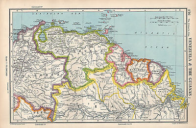 1952 Map ~ South America Venezuela & Three Guianas French British