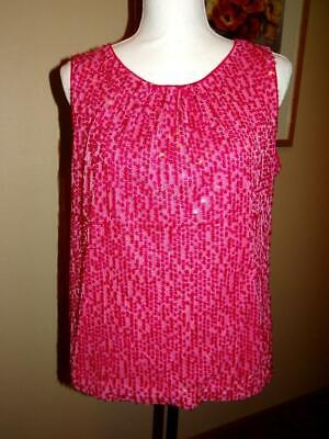 Calvin Klein Pink Sleeveless Top Blouse Sequins Size Large Career Evening Party