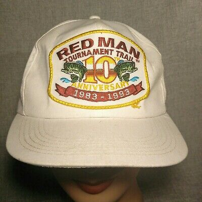 d71547bed4f Vtg Red Man Chew Tobacco 10th Anniversary Fishing Tournament Trail Snapback  Hat