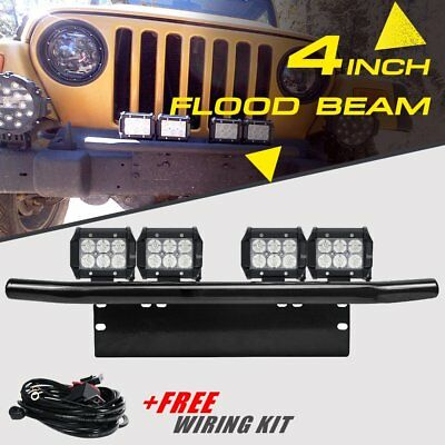 License Plate Mounting Holder Front Bull Bar 60W Cree Led Curved Light Bar Spot
