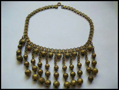 Vintage Egyptian Revival Bookchain Dangling Bib Necklace