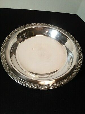 """Vintage Wm. A Rogers Round Footed Silverplate Bowl Tray, 10 3/4"""" Spring Flower"""