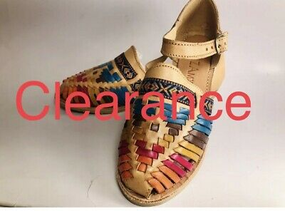 d1e4a37ec5b26 NEW HANDMADE MEXICAN Shoes Leather Sandals Multicolor Wedges ...