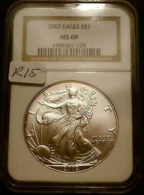 2002 Silver $1 ASE American Eagle NGC MS69 $42 Blast White Luster (R15)
