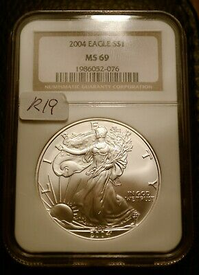 2004 Silver $1 ASE American Eagle NGC MS69 $50 Blast White Luster (R19)