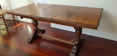 Antique Oak Twin Pedestal 2 Leaf Extension Table with 5 chairs