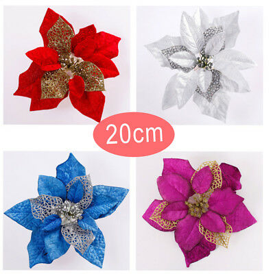 Home Party Poinsettia Glitter Flower Gold Bow Christmas Decoration