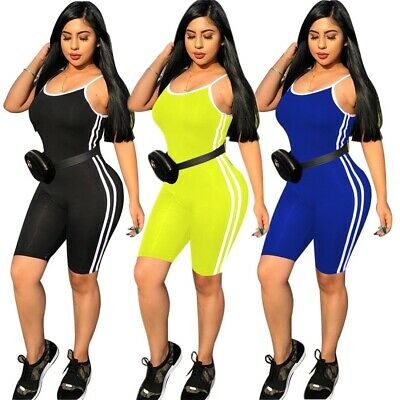 b82a80bb7f2 Women Spaghetti Strap Solid Color Side Stripes Casual Sporty Cropped  Jumpsuit