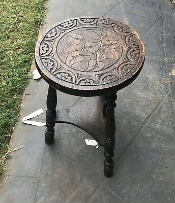 Antique Small Wooden Timber Side Table
