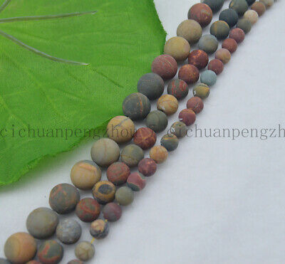 Natural 6/8/10mm Matte Multicolor Picasso Jasper Gemstone Round Loose Beads 15''