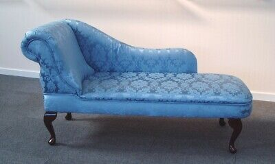 Designer Traditional Chaise Longue in Sky Blue Damask Fabric NEW SALE