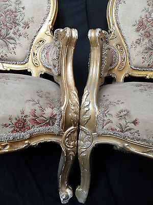 Vintage Antique LOUIS Shabby Chic French Gold Gilt Carved Regal Throne ArmChair