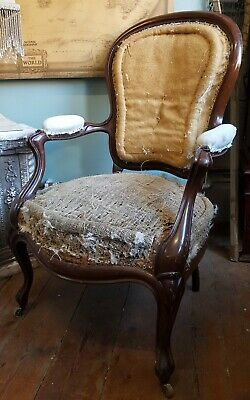 Antique Vintage FRENCH Mahogany Fireside Hall Low Ladies Parlour ArmChair Chair