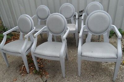 1 0f Set of 6 GREY Shabby Chic French Vintage Style Carver DINING ArmChair Chair