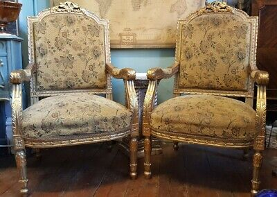 PAIR Vintage Antique LOUIS Shabby Chic French Gold Gilt Throne ArmChairs Chairs