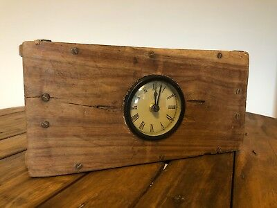 Old Rustic Wooden Brick Clock Antique Style Quirky Bookcase Decorative Ornament