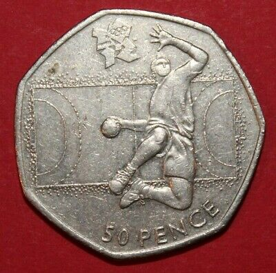 London 2012 Olympic Games Handball 50p Fifty Pence Coin. Rare Collectable Hunt