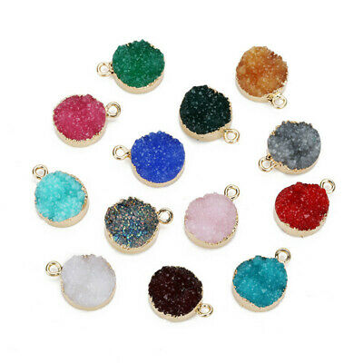 5Pcs 13.5mm Resin Druzy Quartz Charms Necklace Bracelets Round Pendant 13 Colors