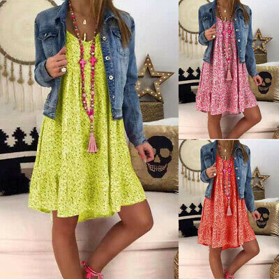 Plus Size Women Boho Floral V Neck Loose Sundress Summer Holiday Tunic Top Dress