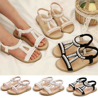 Gold Bow Pearl T Strap Flat Ankle Sandals Kid Girl School Party Casual Shoes 601