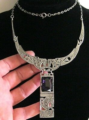 Vintage Signed Miracle Scottish Jewellery Celtic Amethyst Statement Necklace