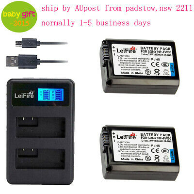 2pcs NP-FW50  NP FW50 battery  & LCD Charger for SONY Alpha A5000,A5100,A6000 AU