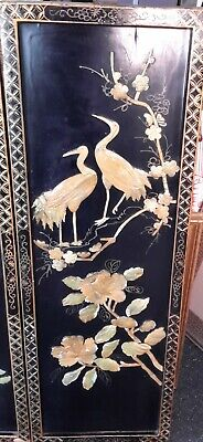 Vintage Black Lacquer And Mother Of Pearl Chinese Pictures (1)