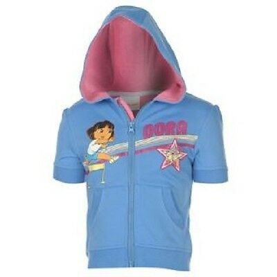 Dora The Explorer:short Sleeve Blue Hoody,2/3Yr,New With Tags