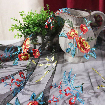 53'' Width Tulle Flowers Fabric Embroidery Lace DIY Wedding Dress 1/3/5 Meters