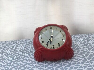 Metamec Dereham Bright Red Art Deco Bakelite Wall Clock