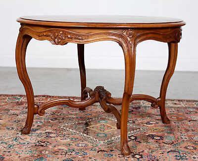 Antique Swedish Carved Walnut Circular Coffee Table Console Centre Table