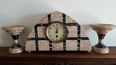 French Art Deco Marble Clock Garniture