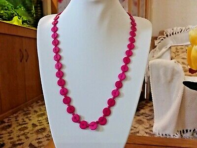 Brand new long single strand  necklace with small bright pink wooden beads