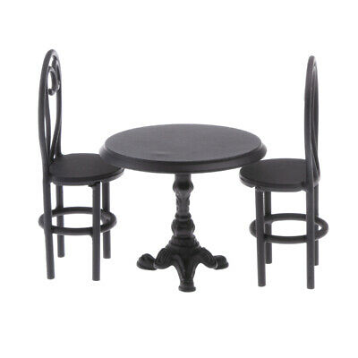 1/12 Dollhouse Miniatures Furniture Black Dining Table Chairs Model Set