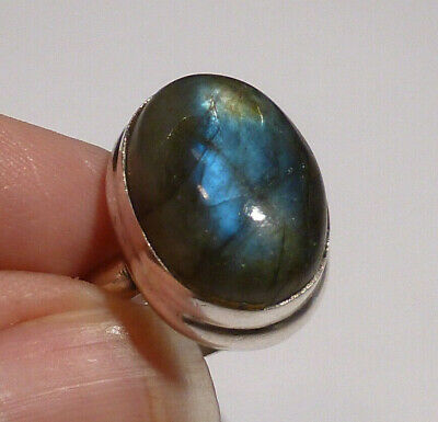 Green Labradorite Moonstone Solid Silver 925 Hand Made Ring 9.3 gm Size P Boxed