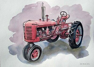 INTERNATIONAL FARMALL C, one-of-a-kind art tractor watercolor, signed Helvey