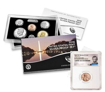 """2019 SILVER PROOF SET w/ """"W"""" REVERSE PROOF LINCOLN PENNY, NGC PF70RD ER, PRESALE"""