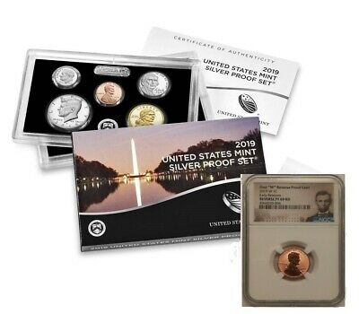 "2019 SILVER PROOF SET w/ ""W"" REVERSE PROOF LINCOLN PENNY, NGC PF69RD ER, PRESALE"