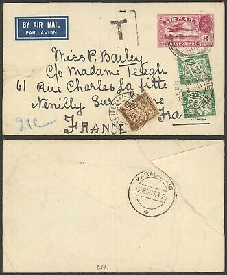 India 1932 - Air mail Stationery to France - Postage due 29930