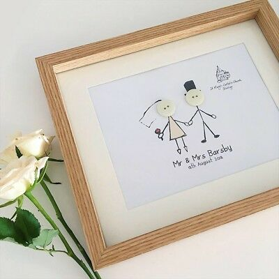 Button Picture Button Wedding Frame//Wedding Gift// Button People// Song Lyrics