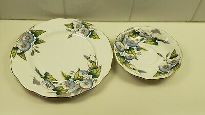 2 Royal Albert Flower Of The Month Series Morning Glory Plate & Saucer