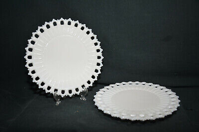 Vintage White Milk Glass with Ribbed Edges Salad Plates