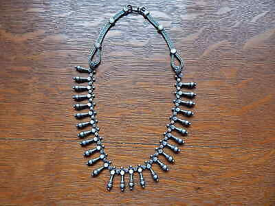 Vintage Old India Rajasthan East Indian Tribal Sterling Silver Choker Necklace