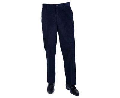 FARAH CLASSIC Mens Corduroy Trousers Flat Front Straight Wale Cord Navy