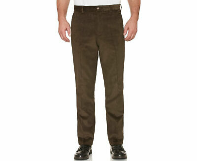 FARAH CLASSIC Mens Corduroy Trousers Flat Front Straight Wale Cord Dark Olive
