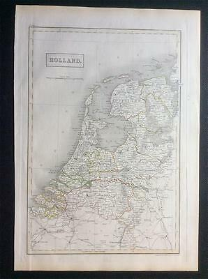 Map HOLLAND c1843, Black's General Atlas of World, VGC, engraved, colour